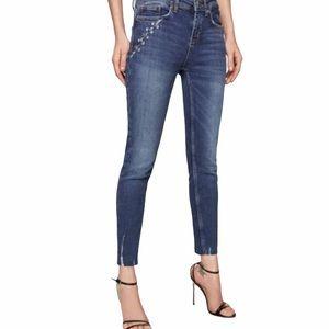 """Zara Skinny Distressed Jean with """"Pierced"""" Detailing Size 8"""